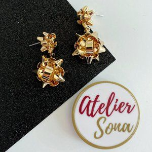 Golden Holiday Bow Earrings